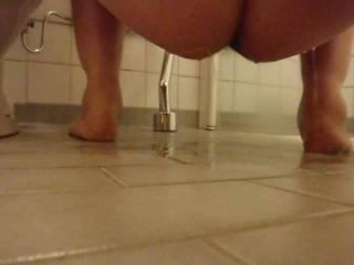My pussy pee on bathroom floor