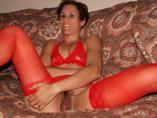 Red bra and stockings
