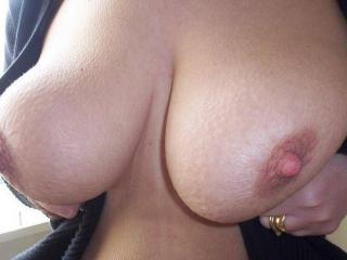 Spunk on my tits. 6 of 6