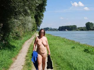 exhibitionist beside a busy river