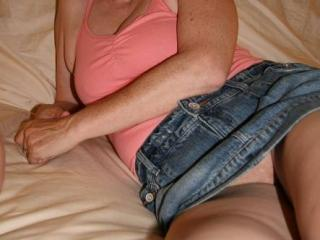 My Slut Wife in Her Denim Skirt 1 of 13