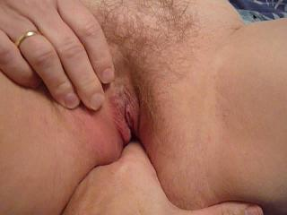 Fingering my wifes hairy pussy