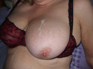 Cum covered breasts
