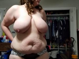 Bbw huge tit wife in bra and panties