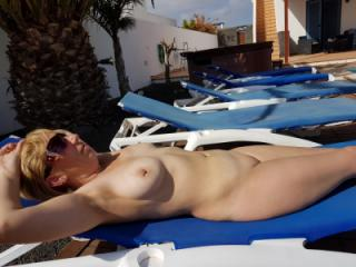 Clair Sunbathing Naked with Perfect Tits n Cunt ;-)