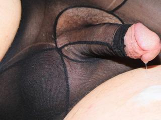 Black nylon panties with open penis sheath
