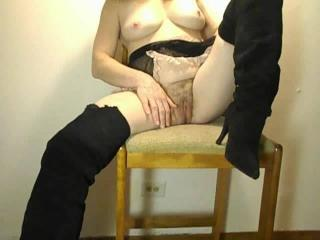 Her T & A in black boots
