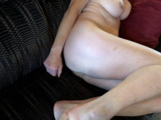Just lying on the couch waiting to be fucked... 5 of 15