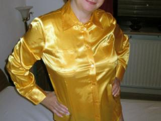 My new Satin Blouse with Black Garterbelt and Stockings 10 of 17