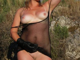 Catch of the day: Fresh outdoor Whore in fishnet