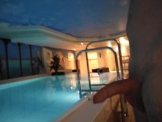 playing in hotel pool and sauna