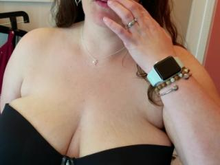 Bbw wife trying on a strapless bra at torrid