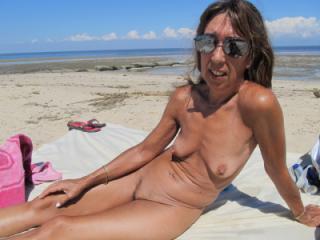 wife on public beach