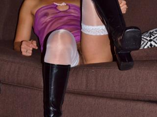 sheer nightie boots and stockings 3