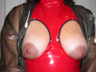 My wife Sandra in her sexy new plastic outfit