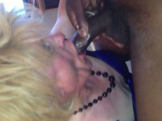 Mouthful of black cock and cream for my tranny slut