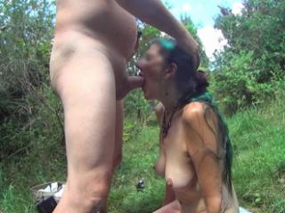 Piss in her mouth in the garden part 2