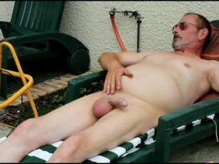 Tanning and masturbation with outdoor ejaculation