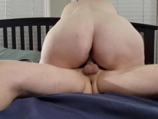 Bbw huge tit wife riding my dick and creampie