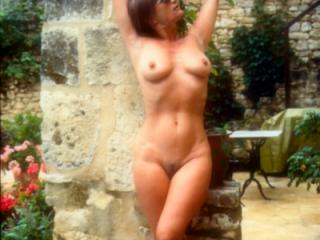 Yvonne naked by the pool