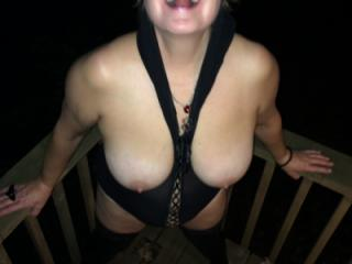 Big Natural Tits Milf Hot Wife Outside at Cabin Sucking Cock