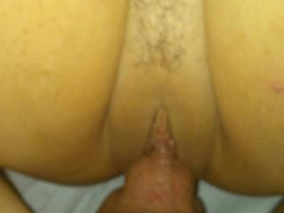 Love fucking my wife's shaved pussy.