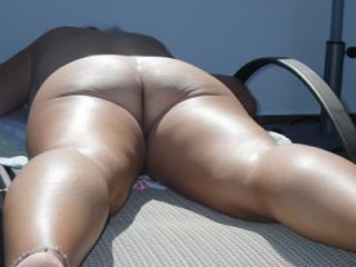 Working on her tan