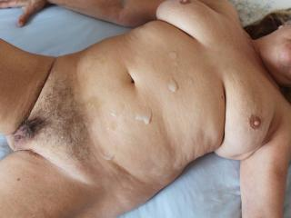 Sticky cock, lovely legs, hairy cunt and cum