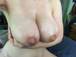 Breasts glazed with cum