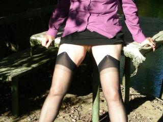 Pissing with black stockings