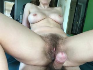 Cumming inside my hairy wife
