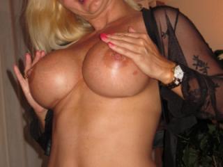 Showing my fake titties
