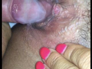 Hubby cumming over my tight hole