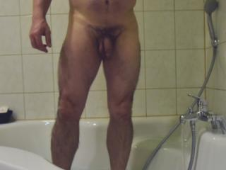 Having a shower in a hotel at midnight