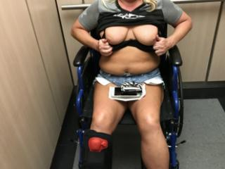 tits out Doctor`s office and elevator