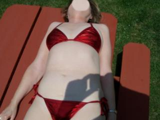 Red bathing suit 14 of 20