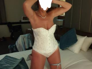 Wife on wedding night in sexy lingerie