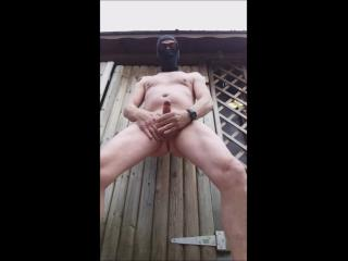 public outdoor twink jerking naked with precum and cumshot in sex