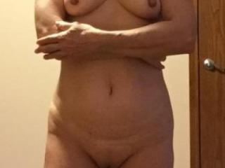 Mexican MILF shaved and unshaved with large nipples
