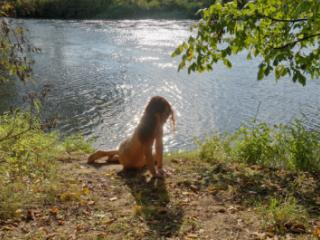 Sitting on the Beach Istra-river