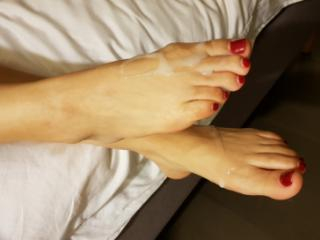 Wife's platforms and Cum on her Sexy Feet by request