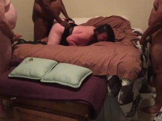 Wife takes 5 cock while house sitting 8-13-2015 Part 4