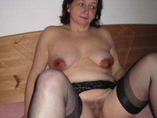 Saggy MILF in black lingerie and Satin Blouse