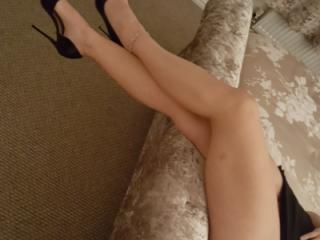 Wifes feet and legs in heels and sexy dress