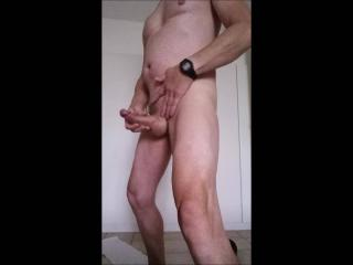jerking in my bedroom horny still after fucking the wife great cumshot