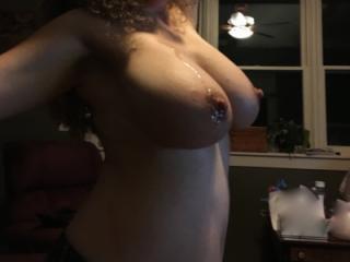 Nipple cumshot