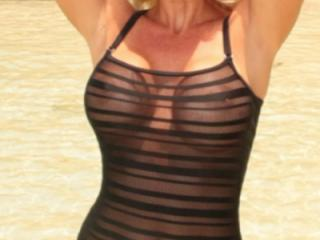 Blonde sexbomb in see-through