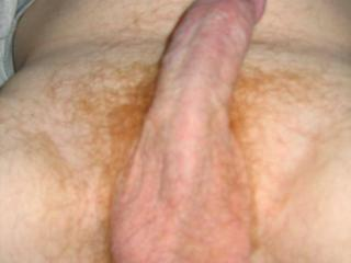 Picture of my red cock for the ladies and bi-males too.