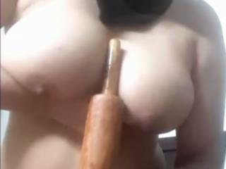 Wild sex with wooden rod