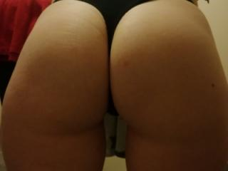 Ass, black thong